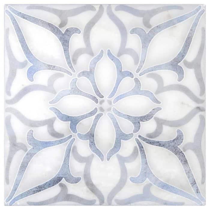 Petals Blue Carrara Marble
