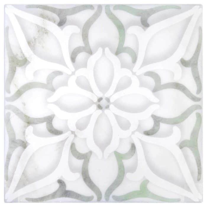 Petals Pattern (Green) on Carrara