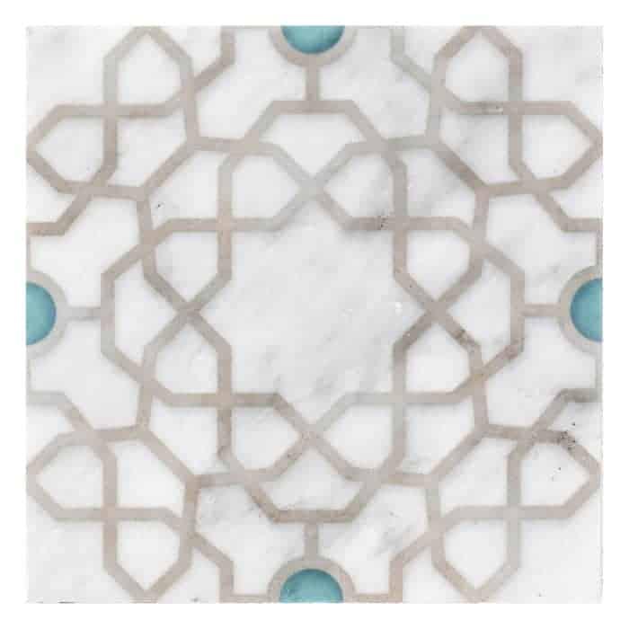 Medina Pattern (Turquoise) on Carrara more veining (1)