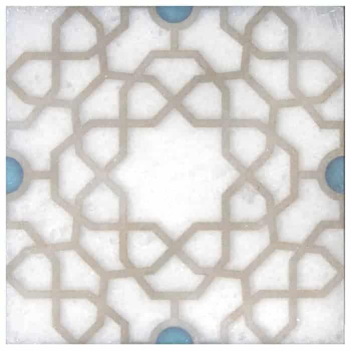 Medina Turquoise Arctic White Marble