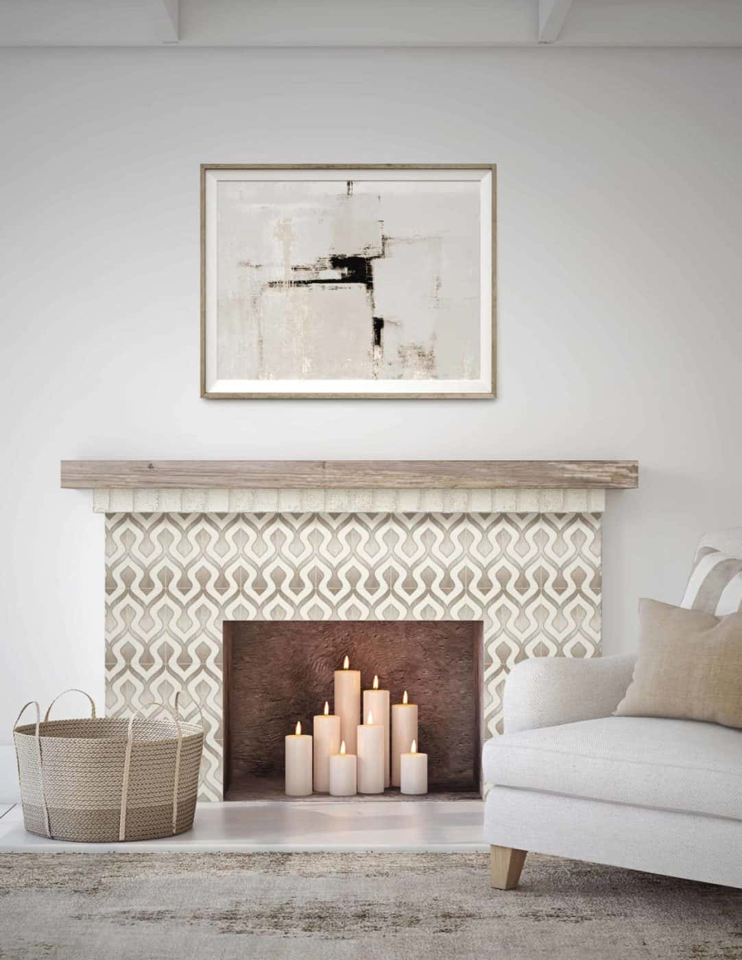 Morocco Beige Limestone Fireplace Install Candles
