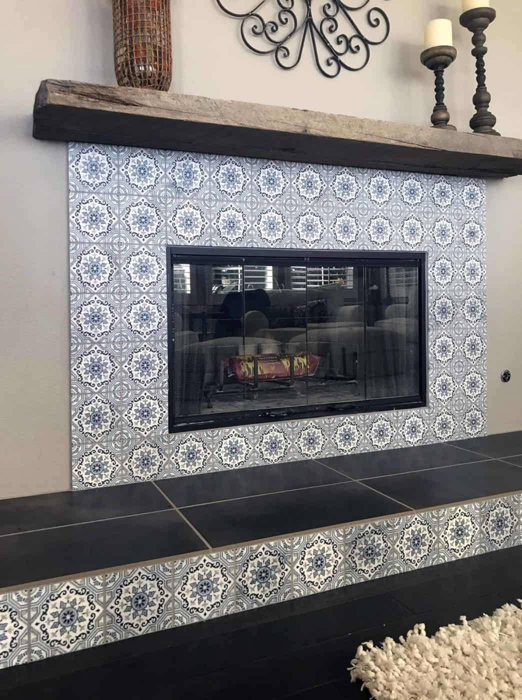 Sanza Snowflake Blue Fireplace Surround Install