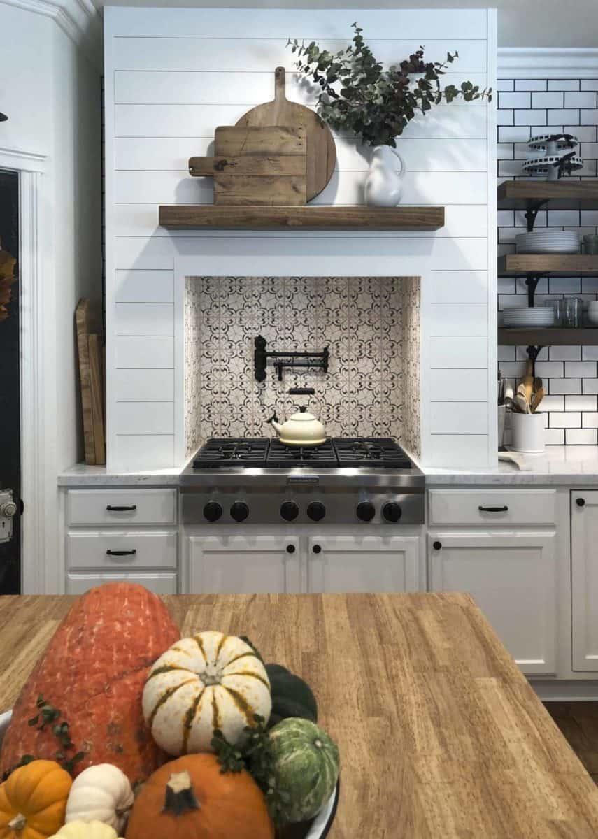 In-stock Oasis tile on 6x6 limestone in modern farmhouse kitchen