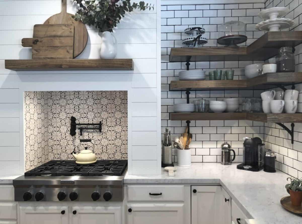 North County Oasis Black Limestone install Kitchen backsplash stove insert inset