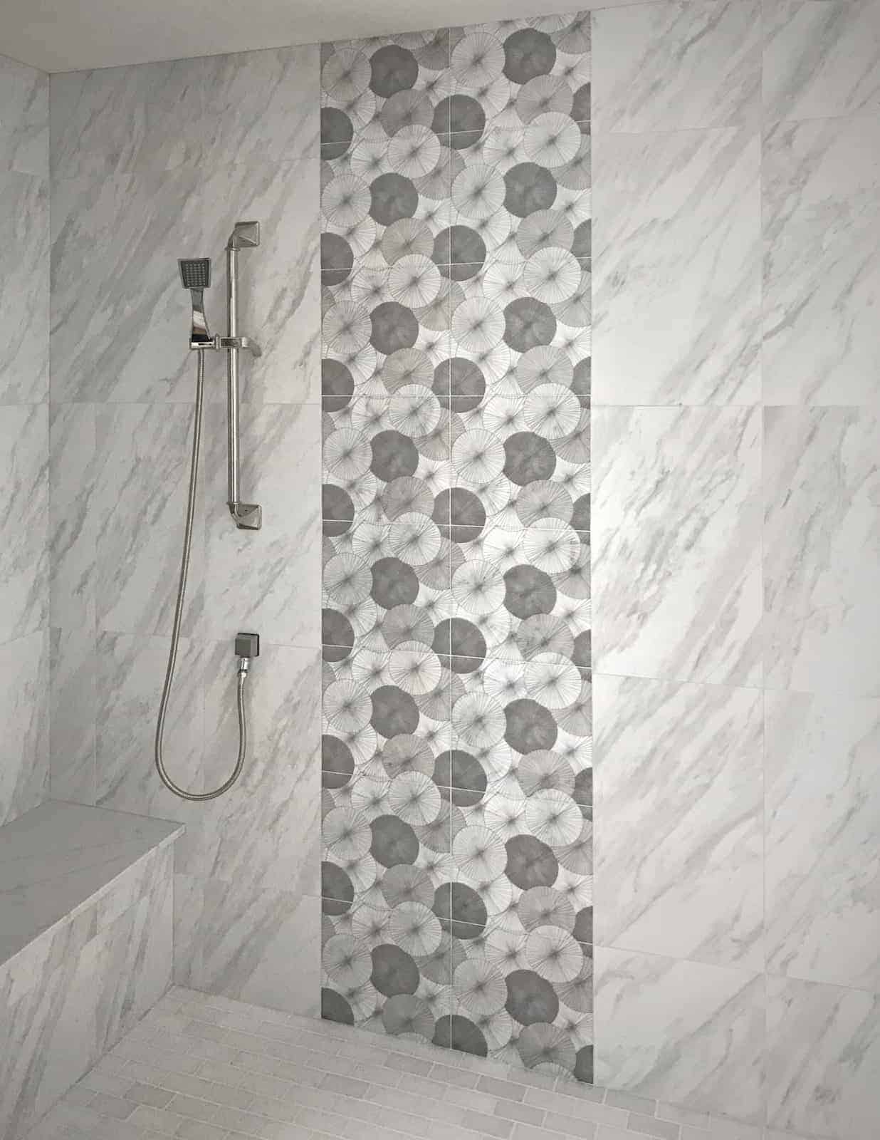 Parasol (greige) on 12x12 Carrara from Artisan Stone Tile