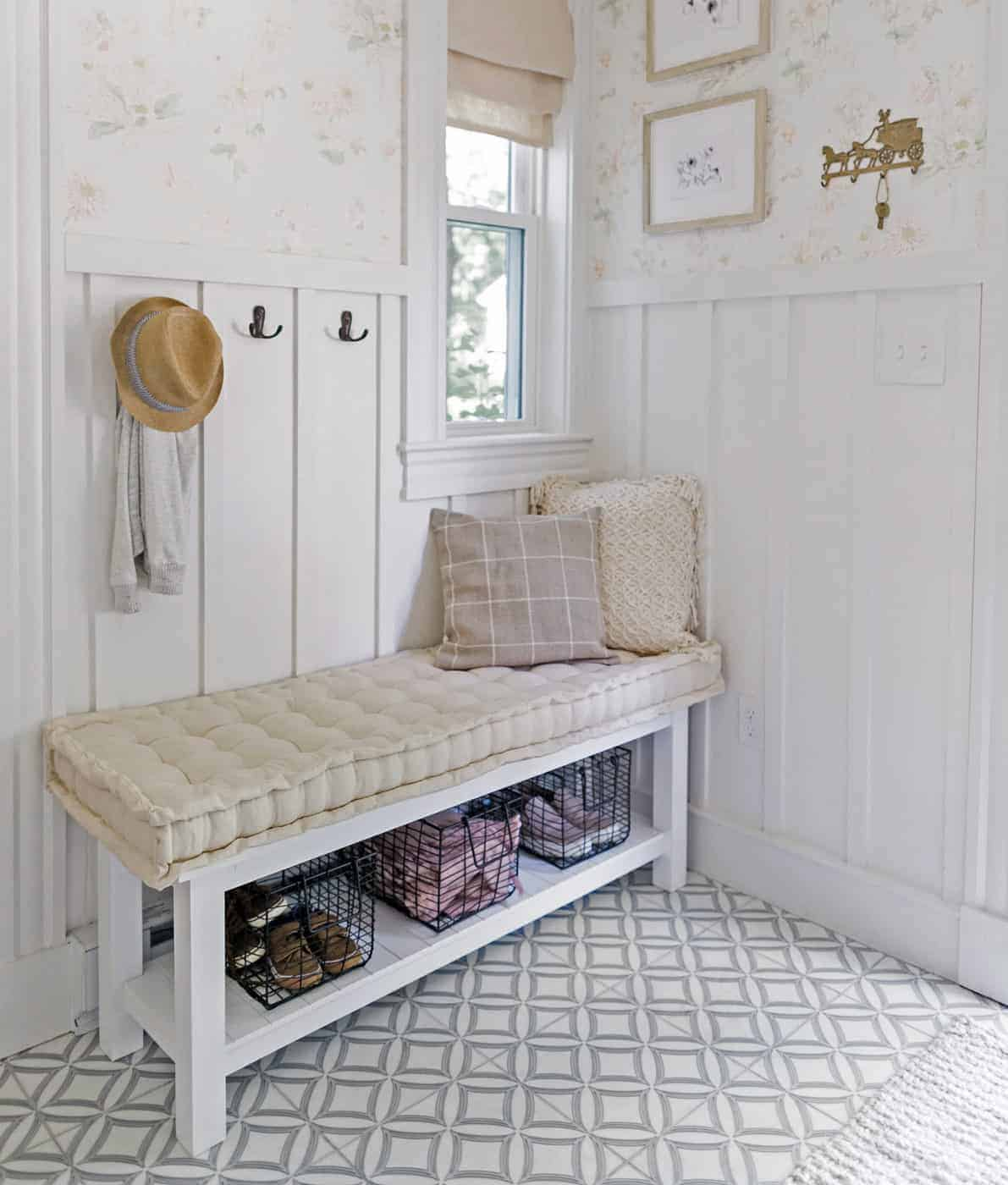 Ellipse pattern mudroom floor and bench
