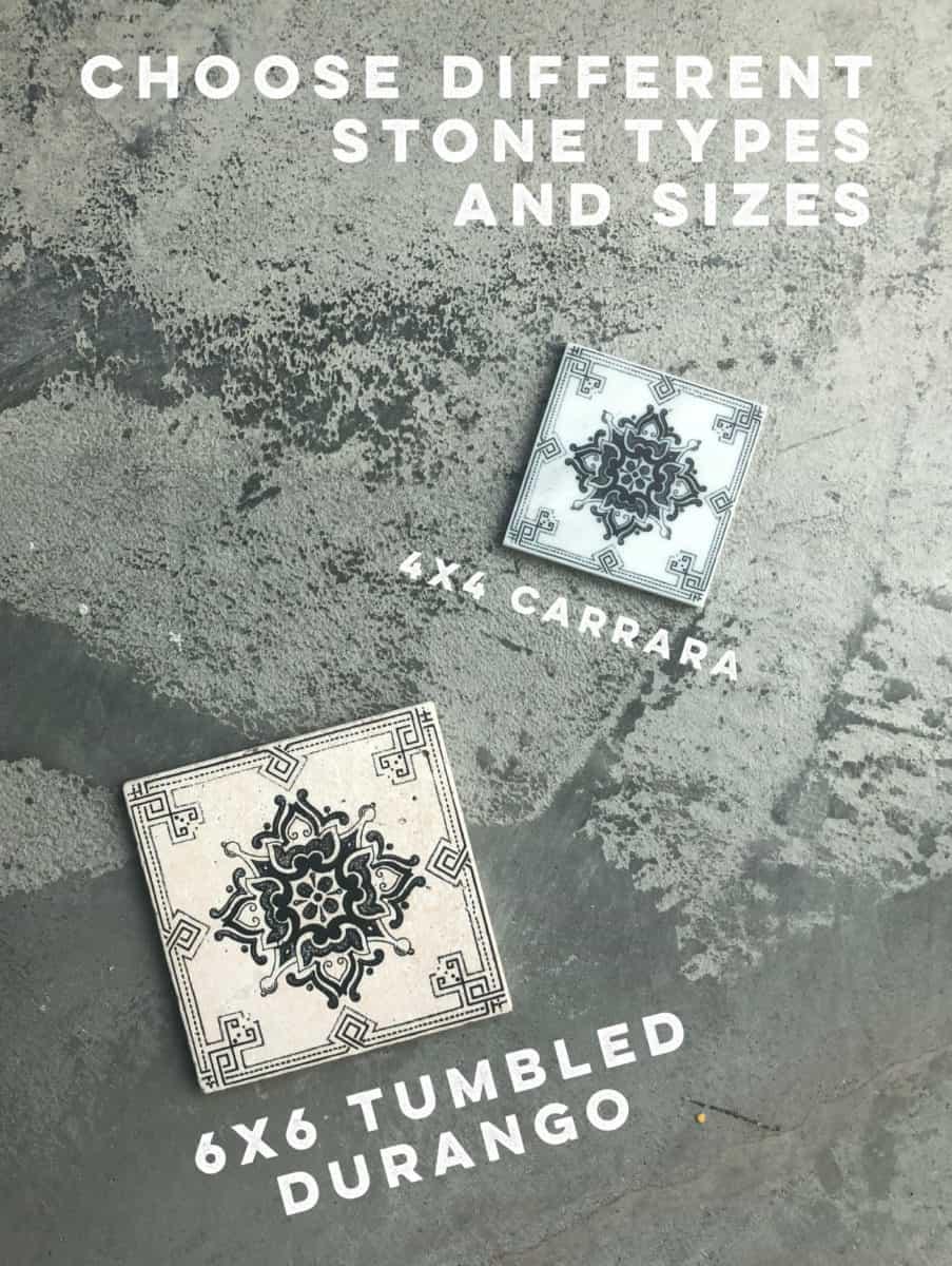 4x4 carrara and 6x6 tumbled durango deco dots collection