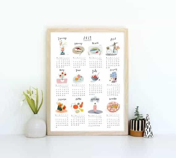 Wall calendar print