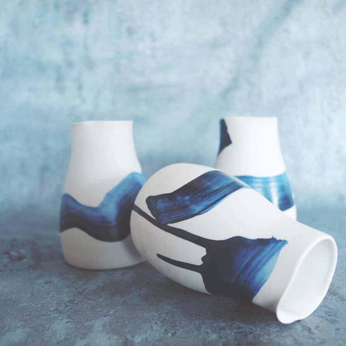 Blue wine carafe pottery