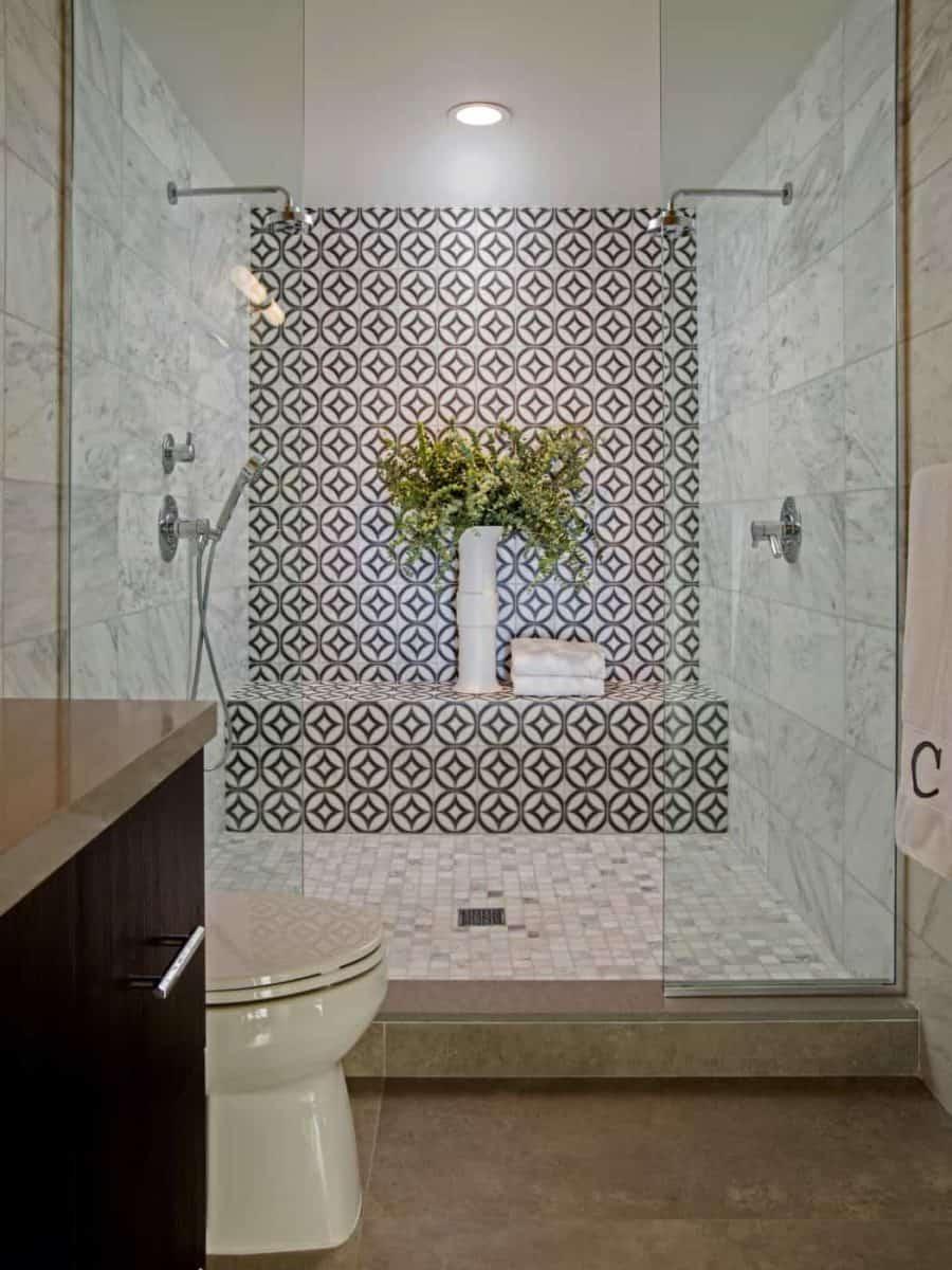 Hayden Dual (Midnight Black) Shower Install on Carrara Master Bathroom with a plant