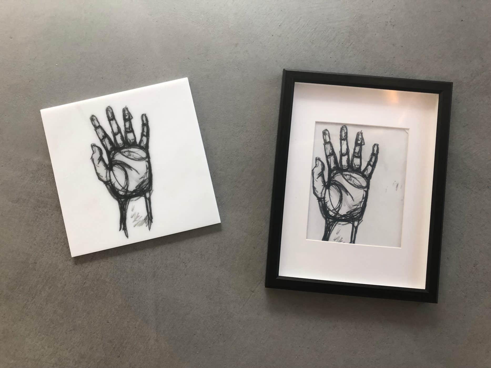 Comparison of original artwork and artwork printed on stone