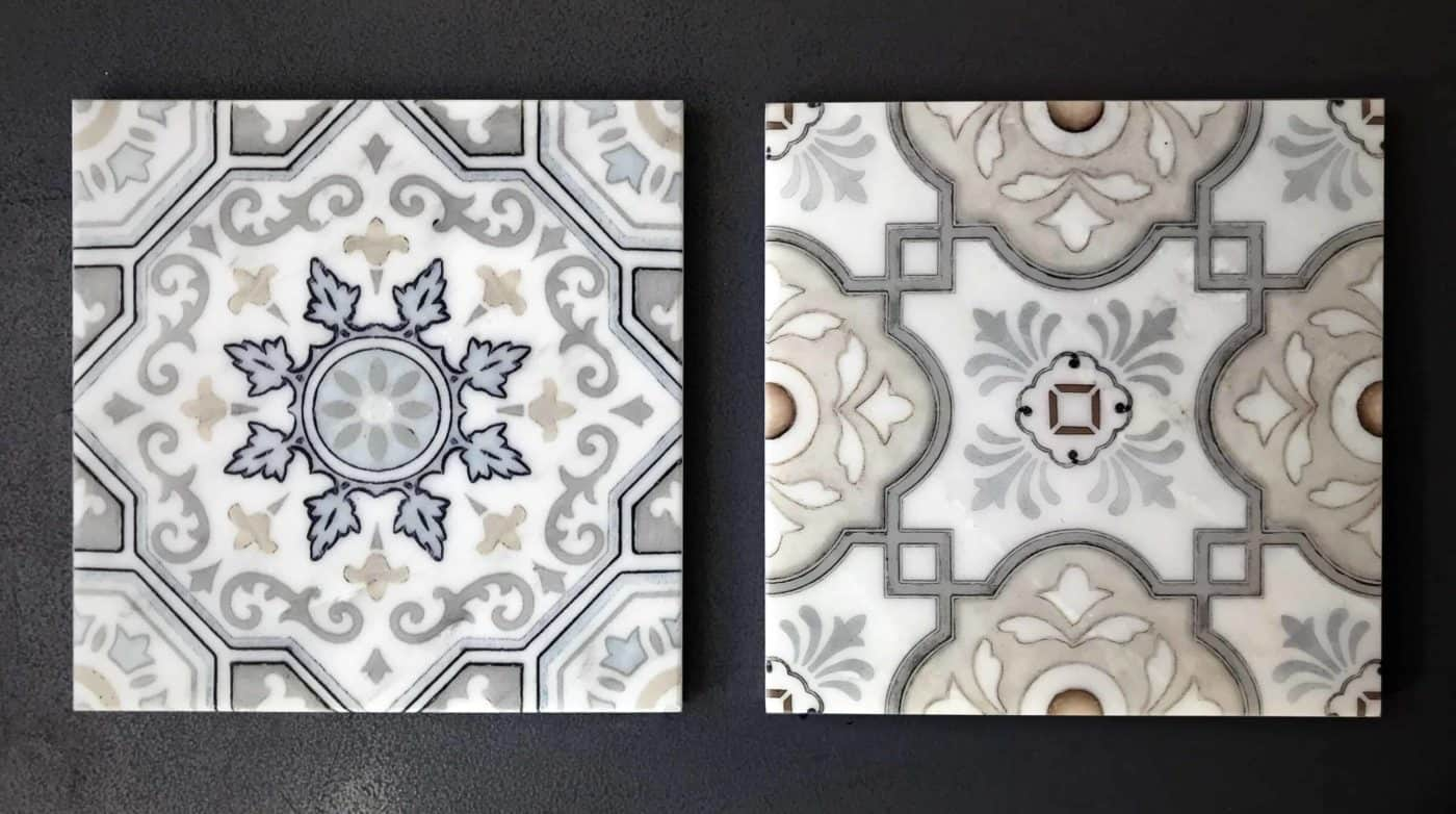 Custom colored decorative tile examples on natural stone