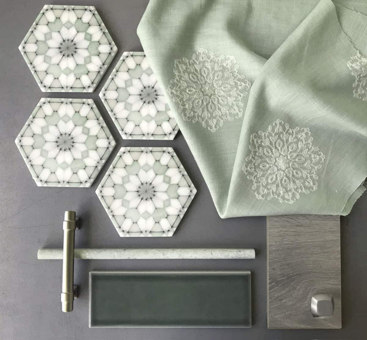 Alston Aliso custom green color flat lay with fabric