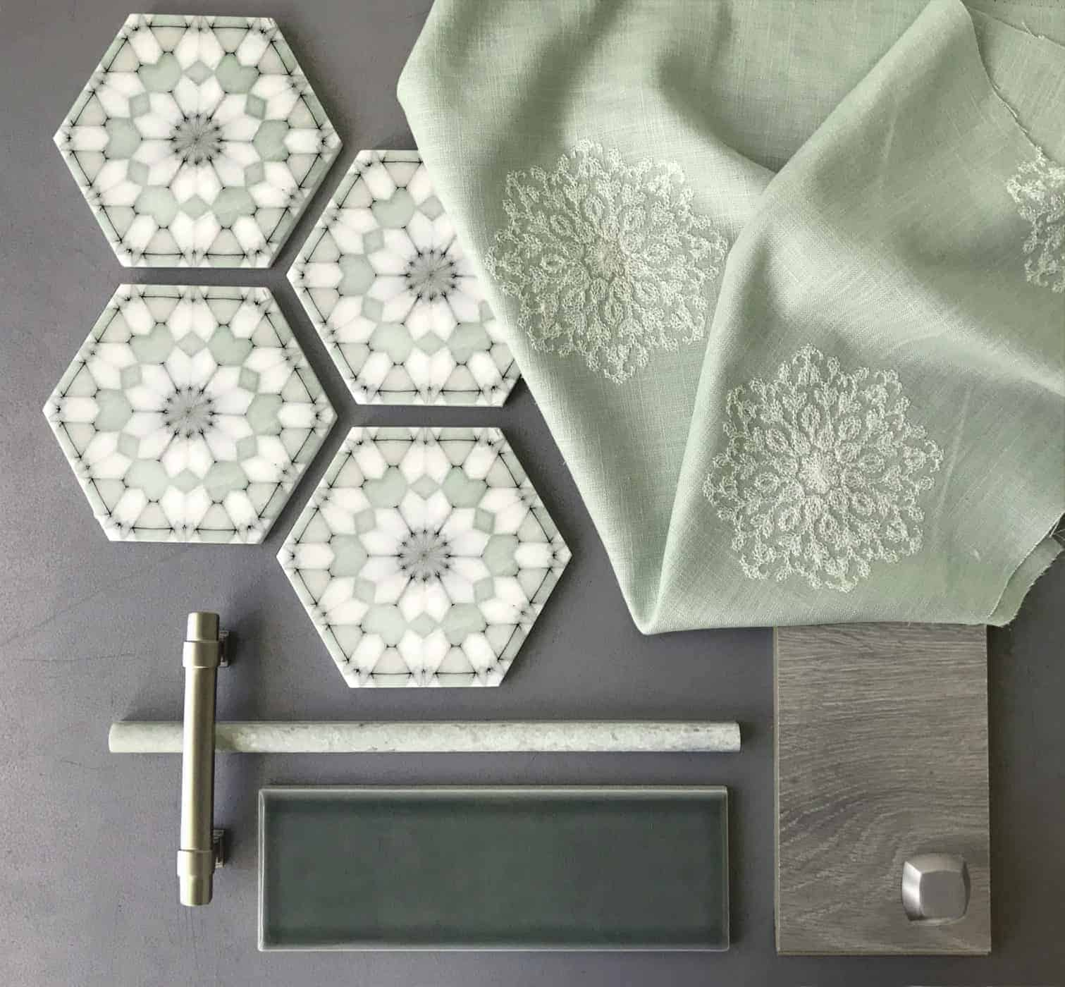 Custom Color green Alston Aliso Pattern Tile Hexagons