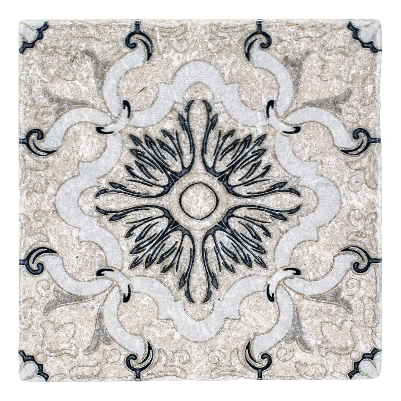 Dulcet Pattern Tile Design original Black on Perle Blanc