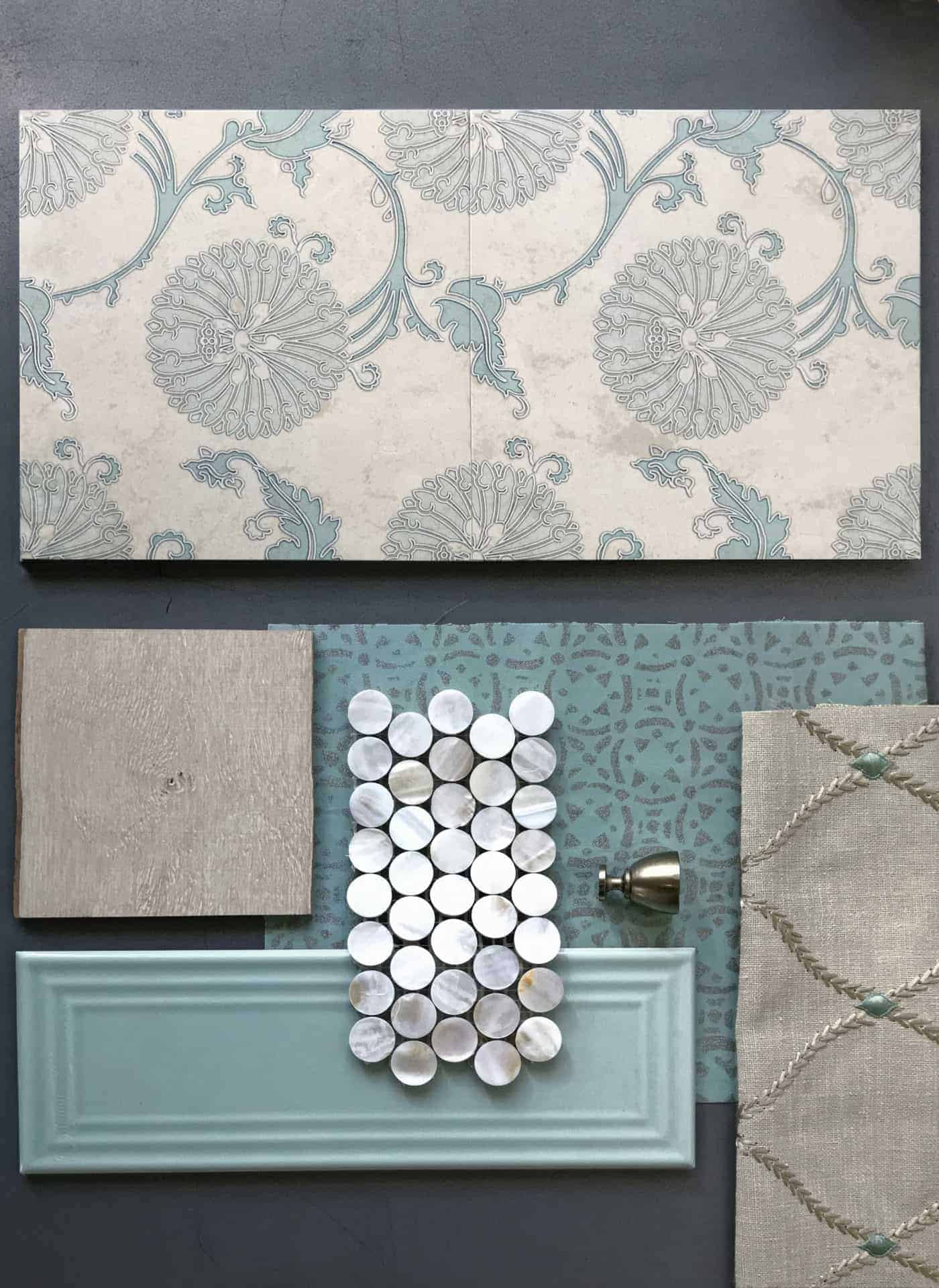 Flat lay of custom teal Eliana Pattern Tile