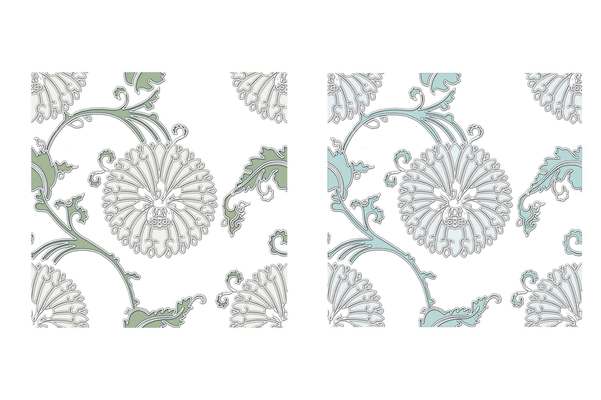 Original green and custom teal side by side of the Eliana Pattern Design
