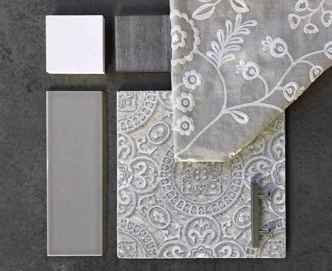 Flat lay of custom white heirloom pattern Tile Design