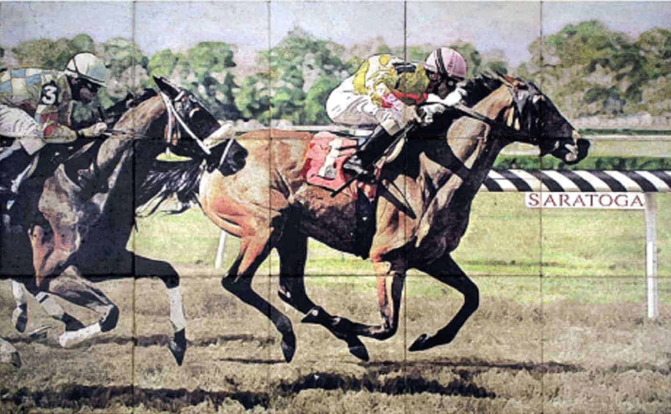 customized mural of horses racing on a track