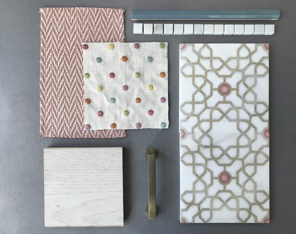 Custom color Medina pattern tile flat lay with fabric