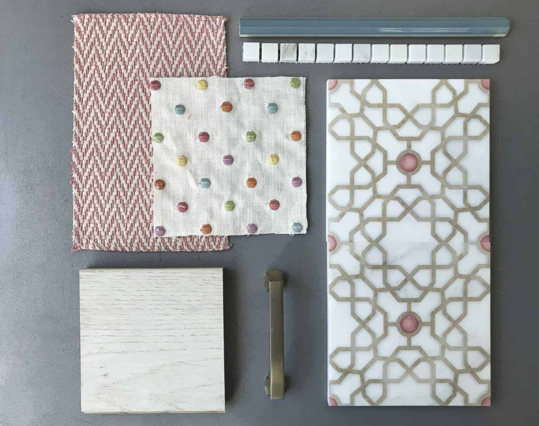 Flat lay of custom colored Medina Pattern Tile gold