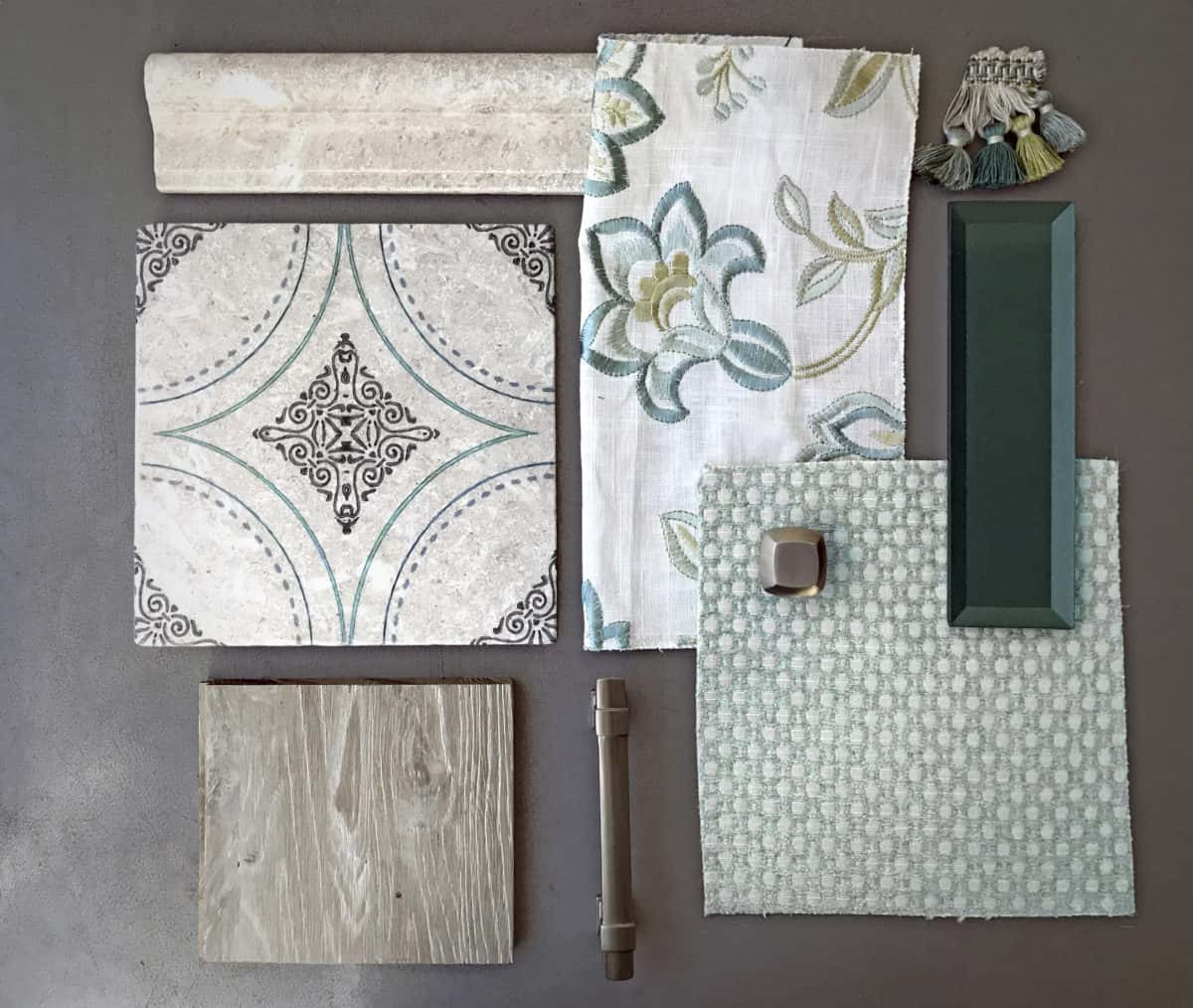 Custom Colored Ventana (teal) flat lay with fabric, trim pieces, and wood