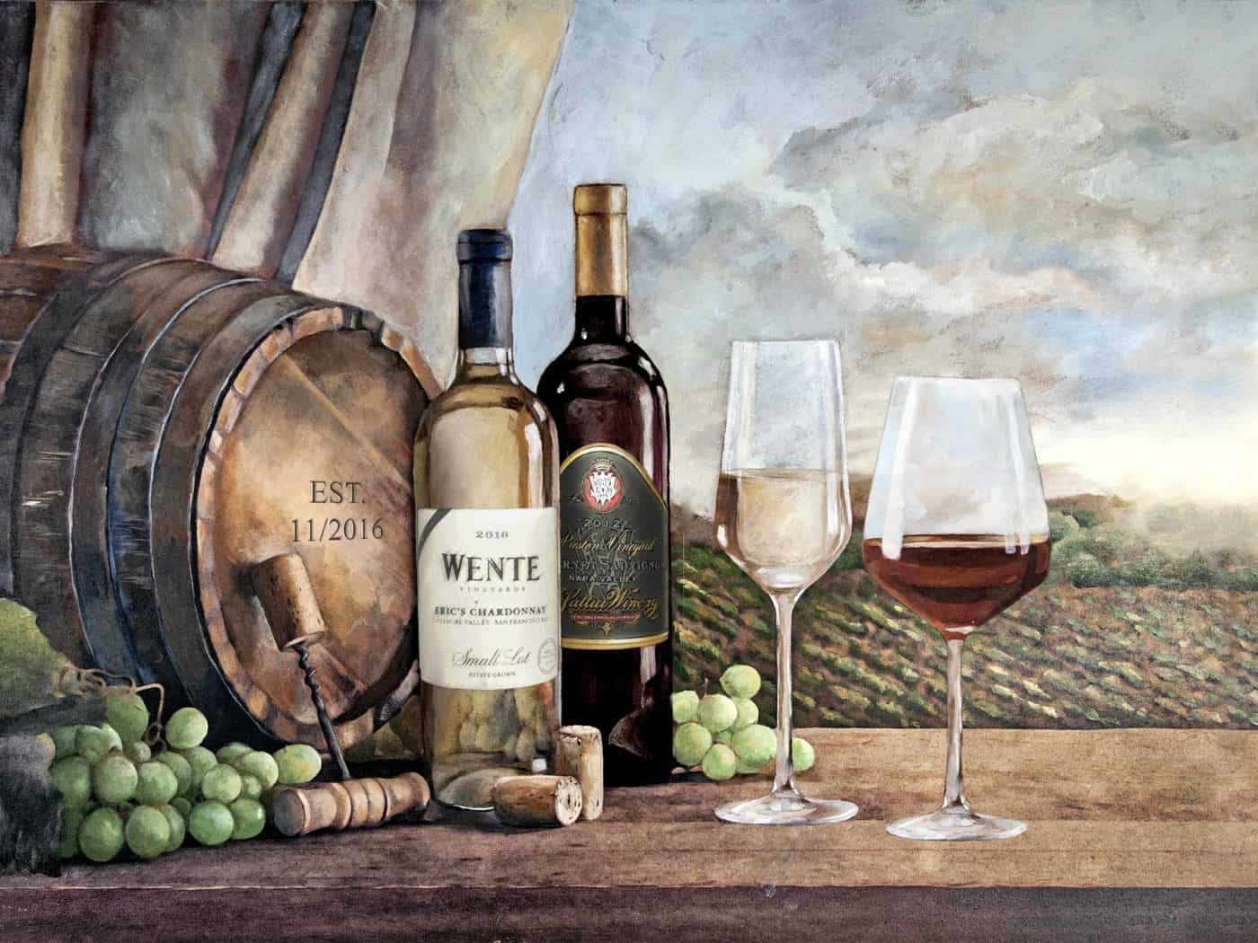 Vin Blanc mural with custom labels