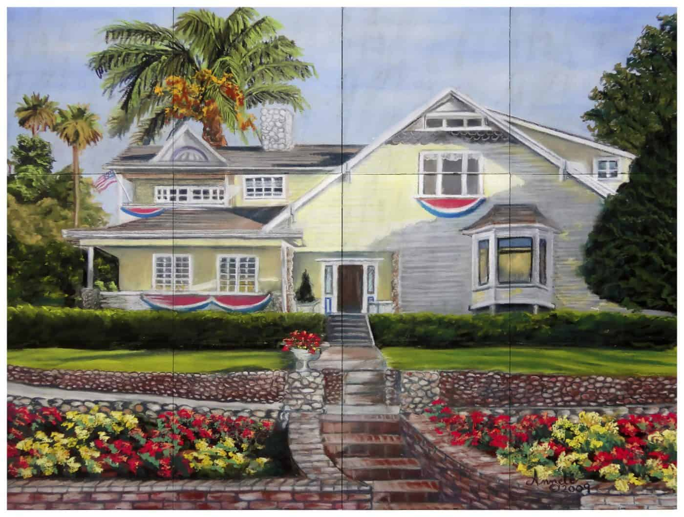 Custom mural of yellow house drawing from customer supplied art