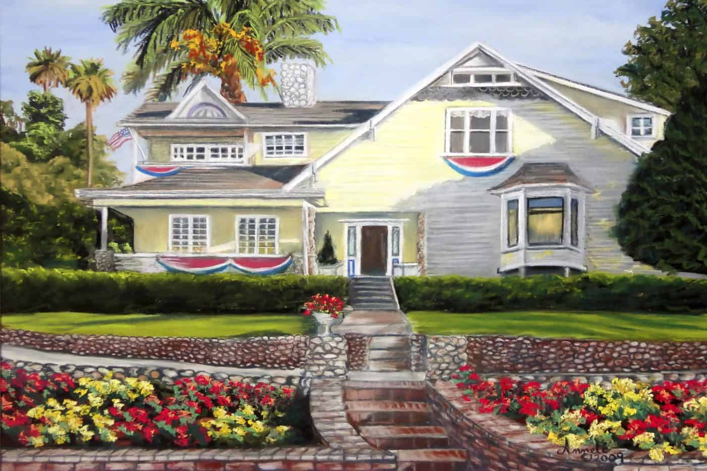 Drawing of a yellow house with flowers
