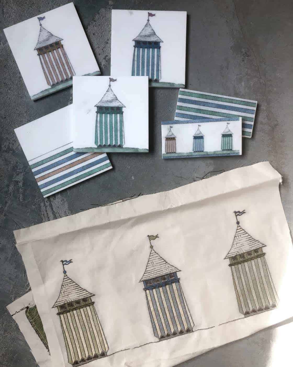 Custom accent tiles of bathhouses for child's bathroom