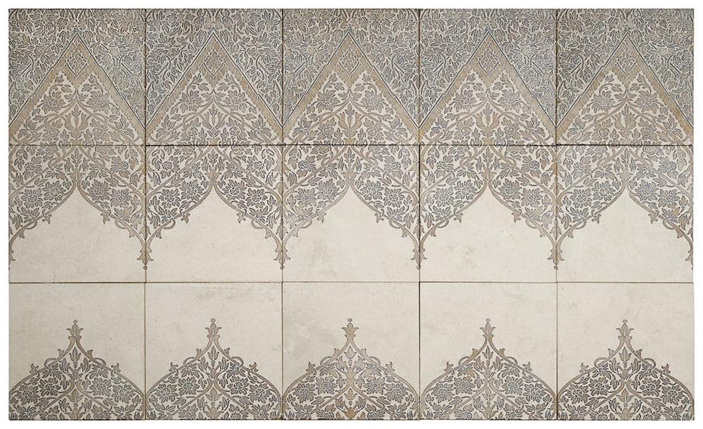 Truly Lace patterned mural on limestone