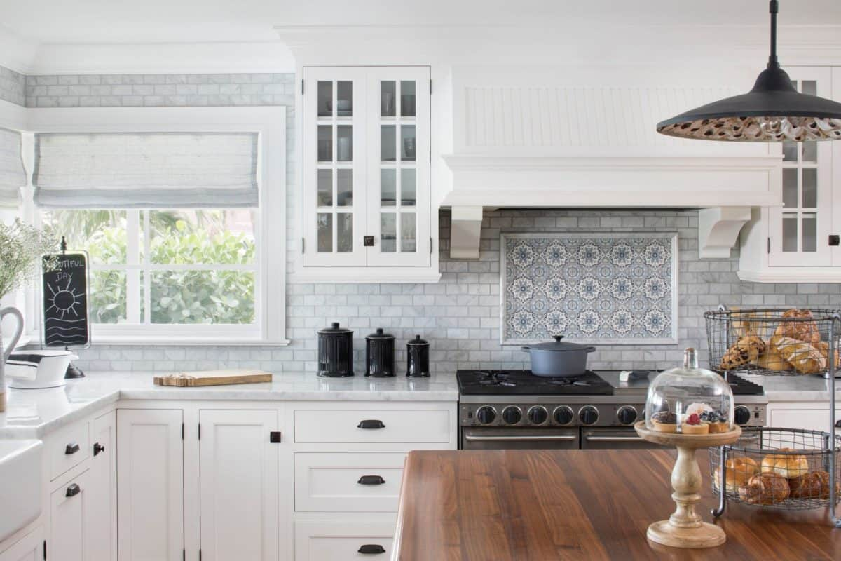 coastal kitchen backsplash sanza pattern in snowflake blue