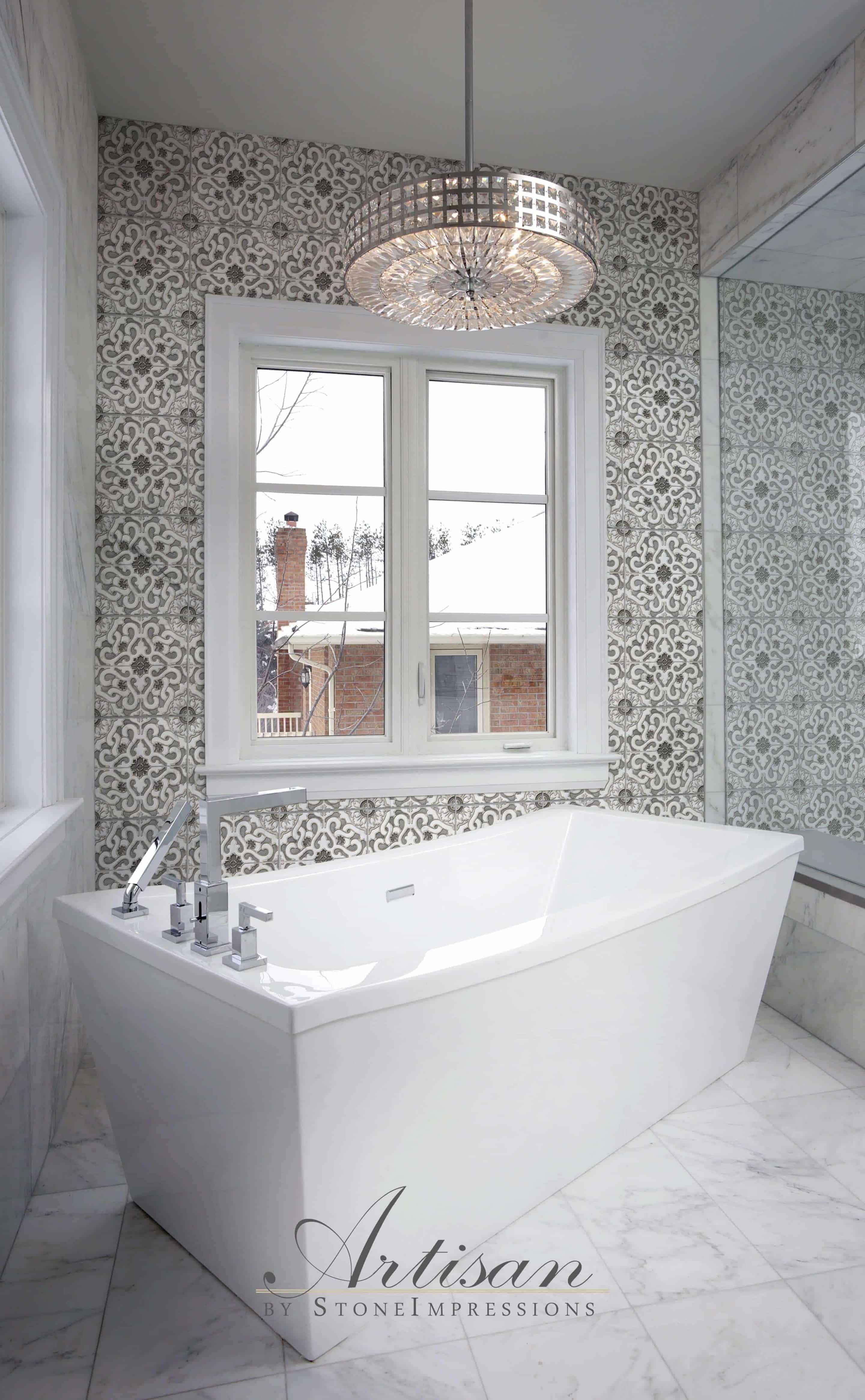 Zara (Shade) on Carrara Bathroom Install Artisan Stone Tile Logo