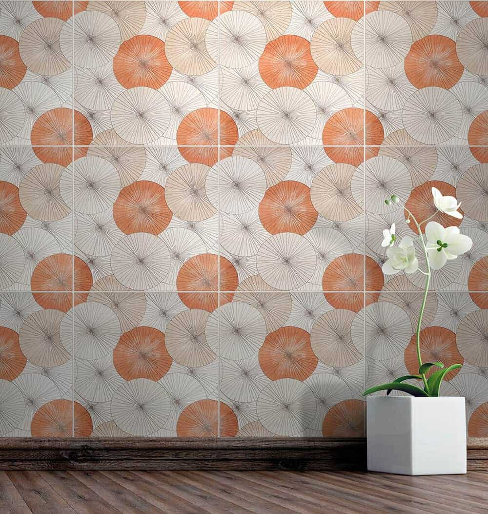 Parasol (poppy) on 12x12 Limestone