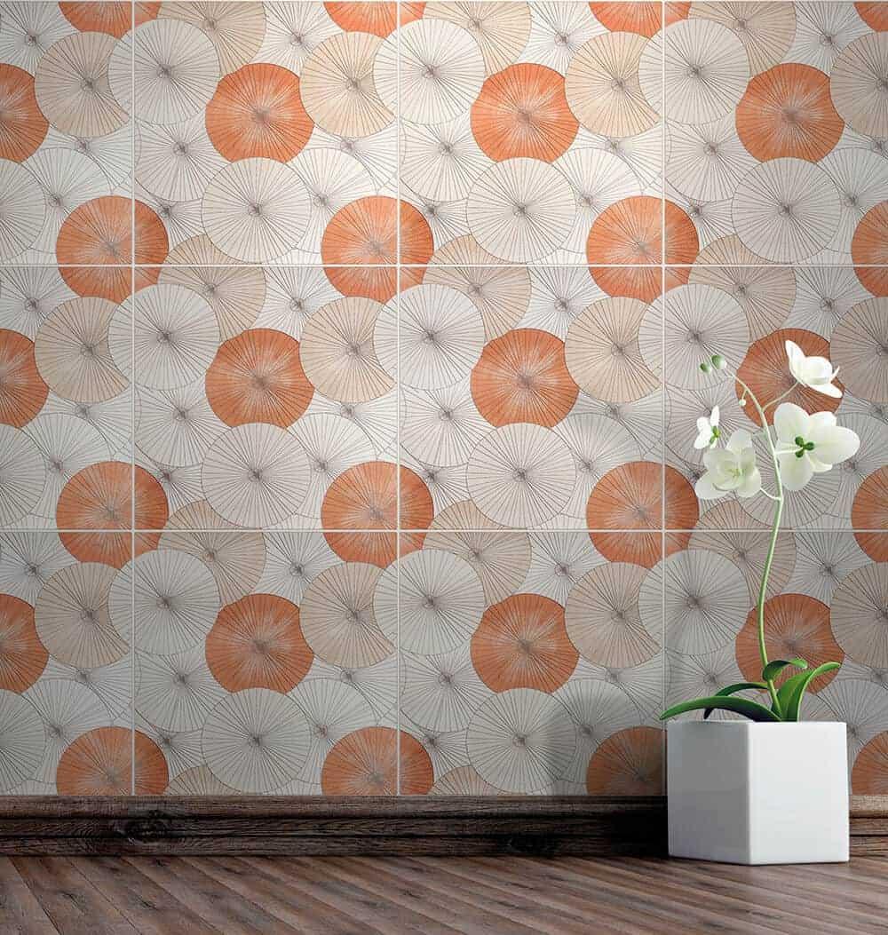 Parasol Pattern orange poppy circles limestone pattern