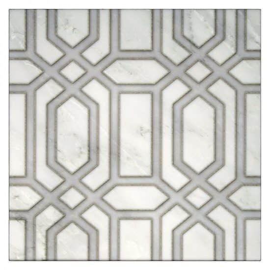 Alto Pattern Tile in the color Galaxy grey on Carrara marble