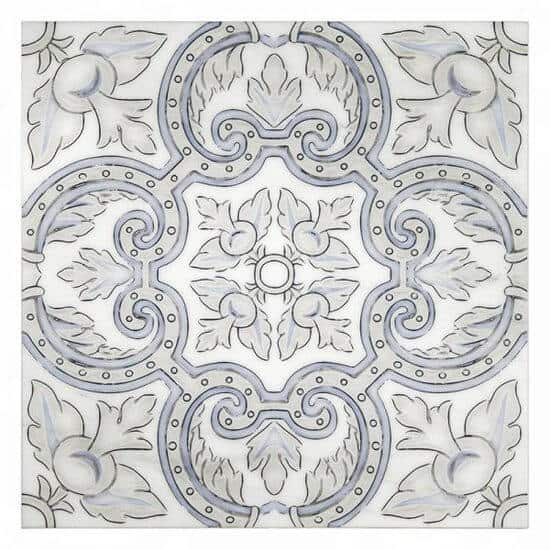Arya Pattern in the color Bay Blur on Carrara Marble