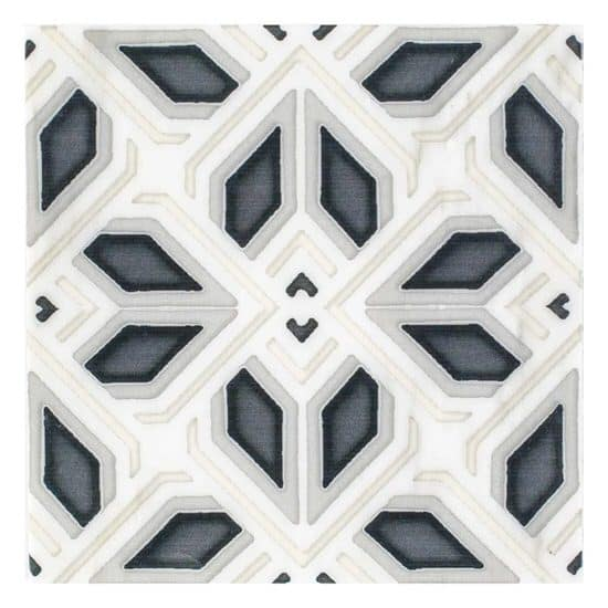 Avery Pattern Tile Black and beige on Carrara Marble