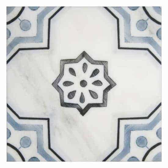 Chapman Pattern blue, black and white on Carrara marble