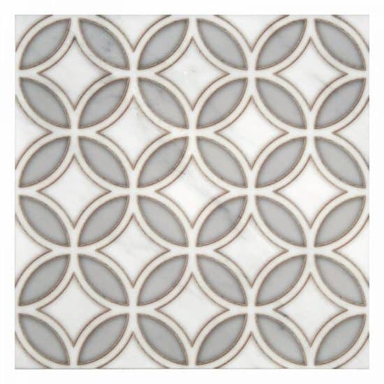 geometric circular Crescent Pattern decorative Tile grey and bronze on white carrara marble