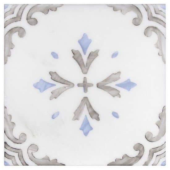 traditional hand-painted Crystal Pattern Tile blue and grey on white Carrara marble