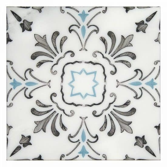 Traditional Hand-painted Dana Point Pattern Tile blue and black on white carrara marble
