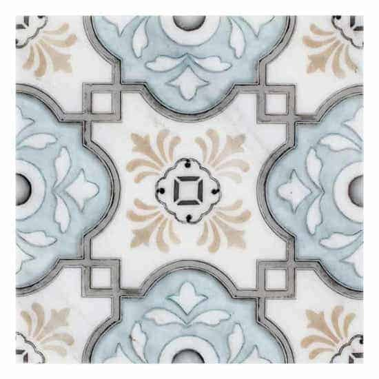 traditional Davenport Pattern blue, beige and grey on white carrara marble