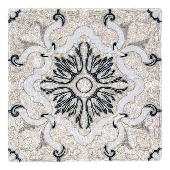 Dulcet Decorative Pattern Tile black and white on tumbled Limestone