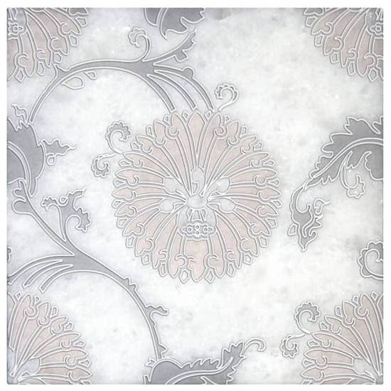 Floral Delicate Eliana Pattern in Blush pink and grey on Arctic White Marble