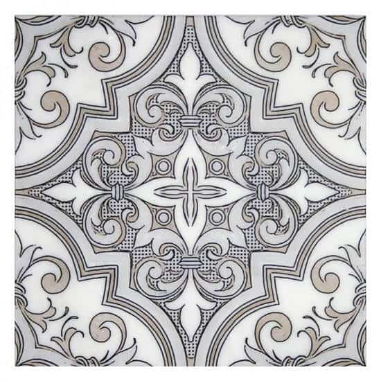 Unique Ella Pattern Portuguese Tile beige on white marble