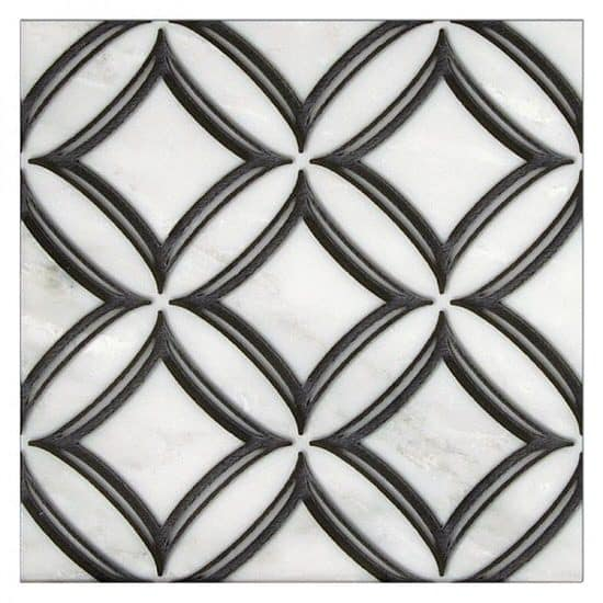 Geometric Black Ellipse Pattern Tile on white Carrara Marble