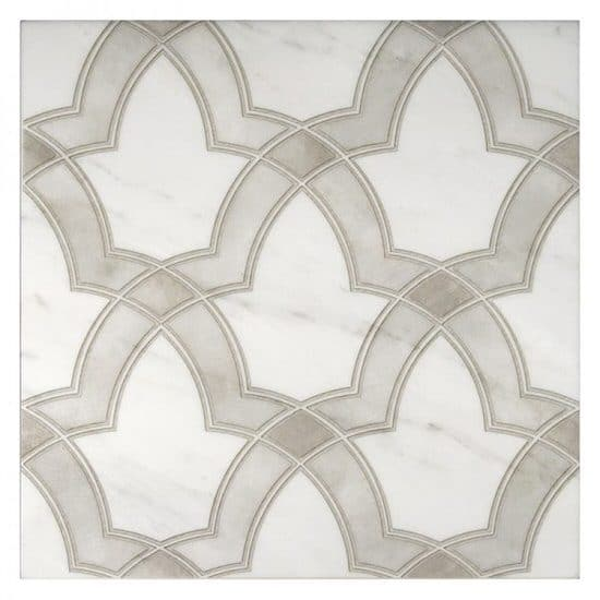 Transitional Evolve Pattern tile in beige on white marble