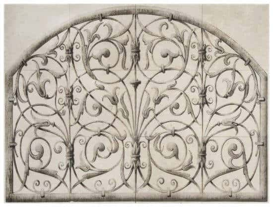 Finestra Mural on marble Arch wrought iron Stoneimpressions