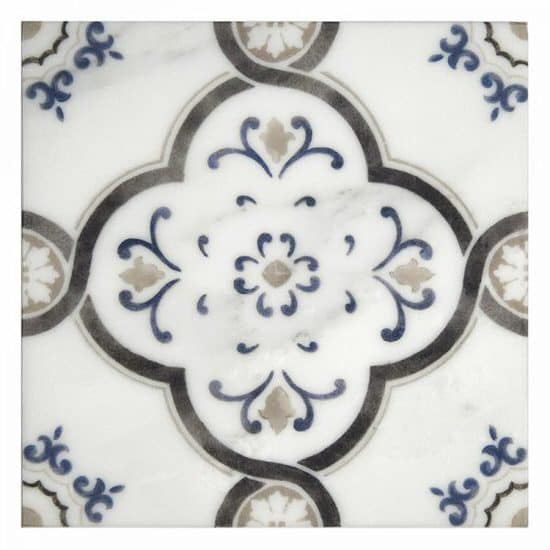 Modern Farmhouse Fiore Pattern Tile on white marble